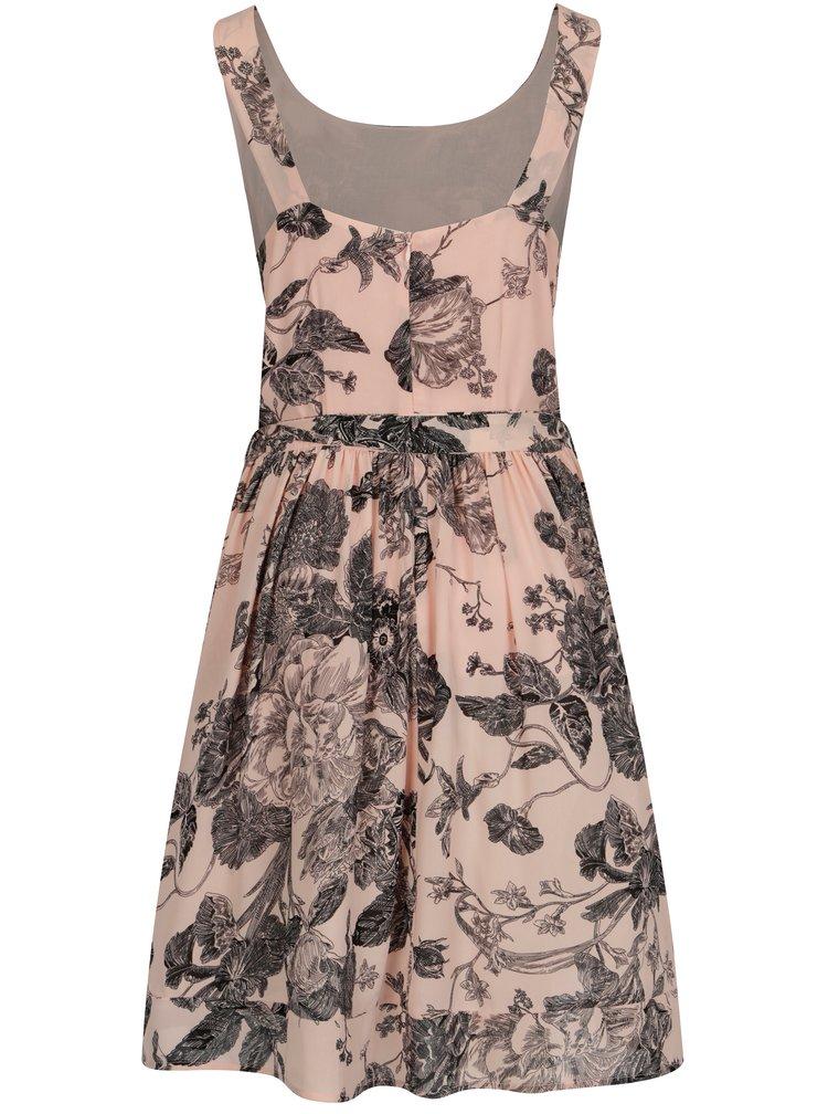 Světle růžové květované šaty s tylovou spodničkou Smashed Lemon