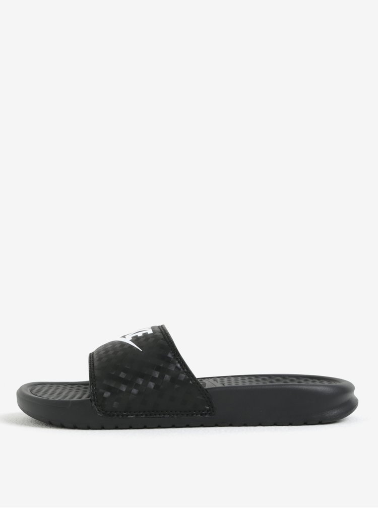 Papuci negri cu model discret si logo pentru femei -  Nike Benassi Jdi