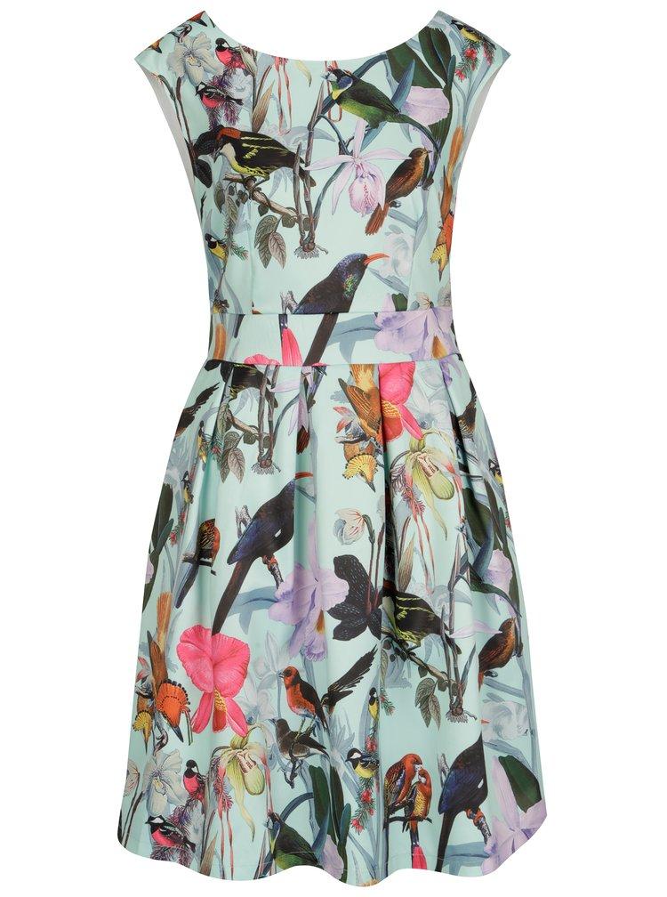 Světle zelené květované šaty s motivem ptáčků Smashed Lemon