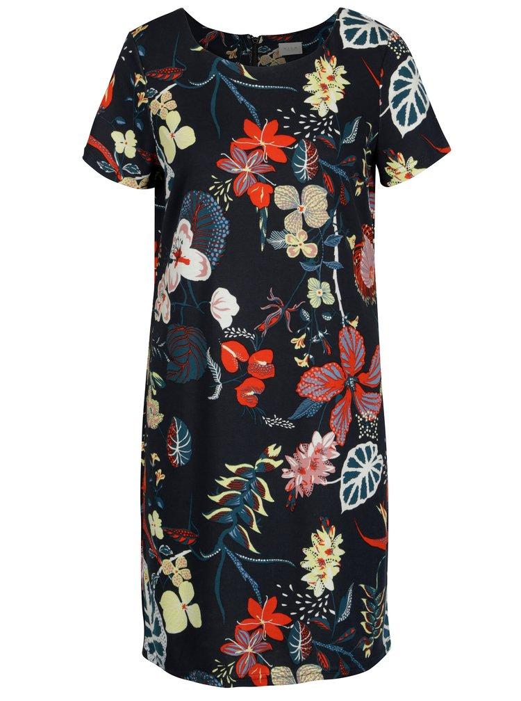 Tmavě modré květované šaty s krátkým rukávem VILA Tinny