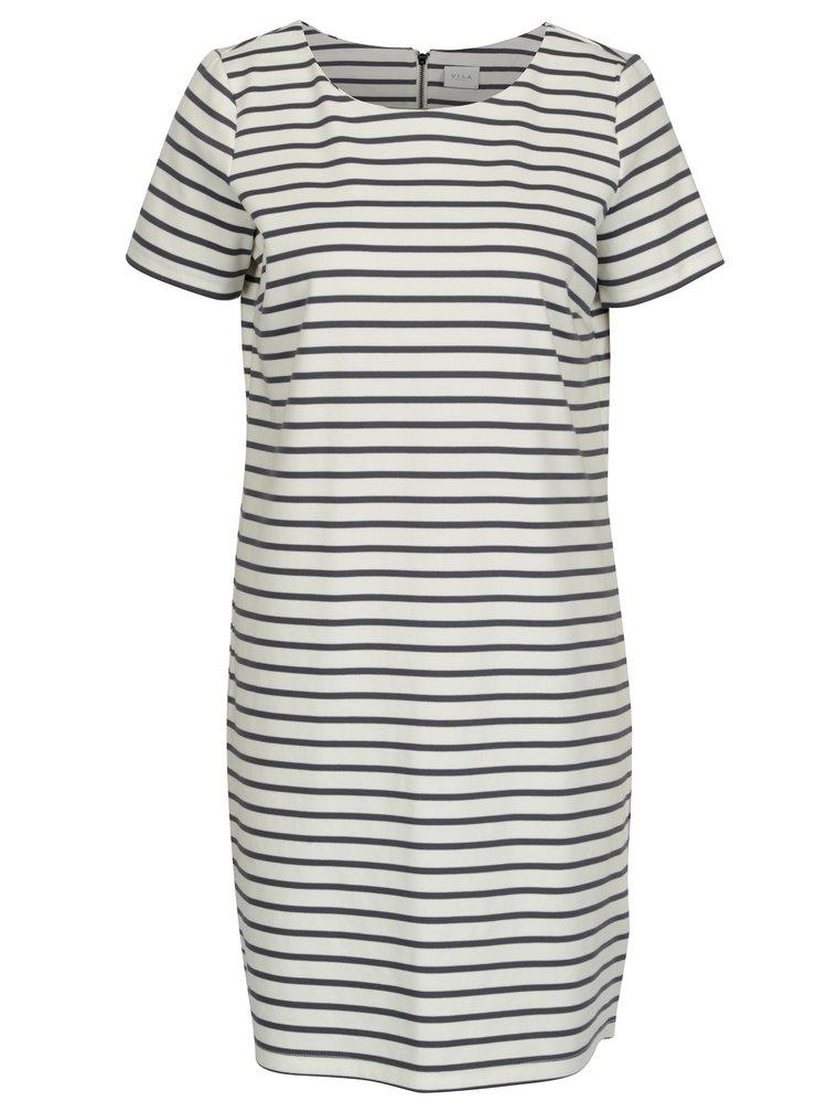Krémovo-modré pruhované šaty s krátkým rukávem VILA Tinny
