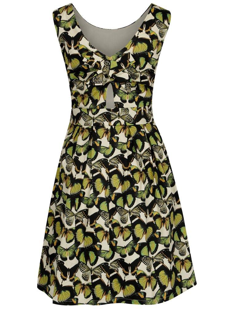 Krémovo-zelené áčkové šaty se vzorem motýlů Smashed Lemon