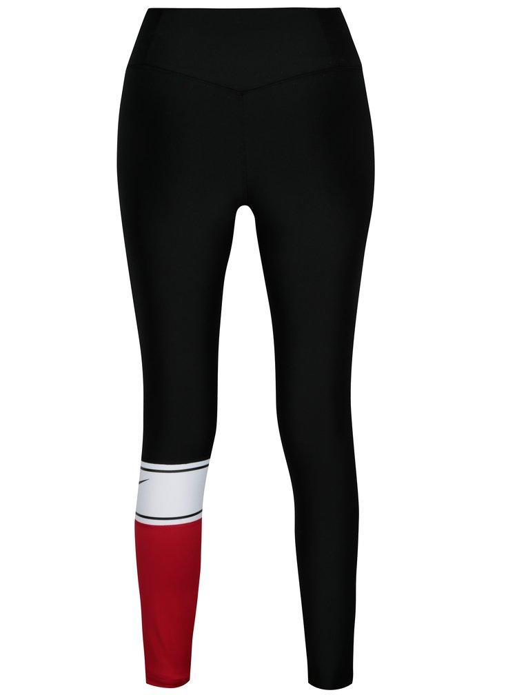 Červeno-černé dámské funkční legíny Nike Power Training Tights