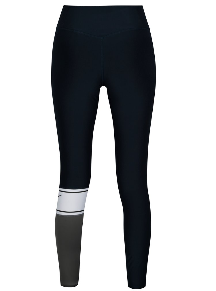 Šedo-modré dámské funkční legíny Nike Power Training Tights