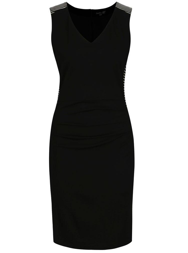 Černé pouzdrové šaty s pruhy Smashed Lemon