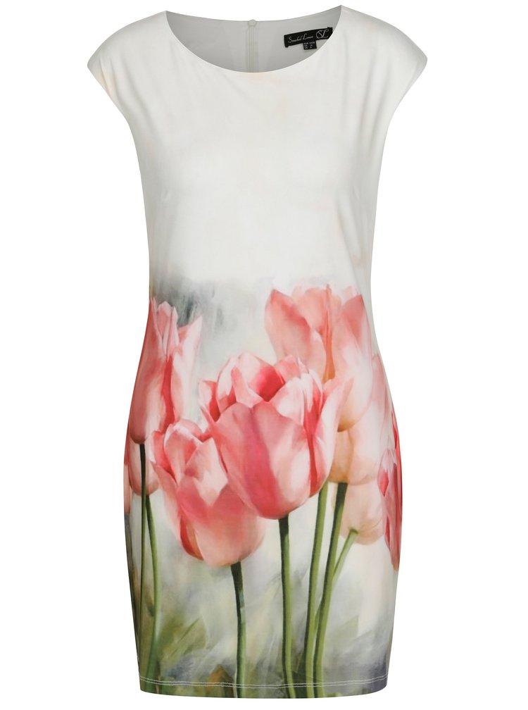 Krémové pouzdrové šaty s tulipány Smashed Lemon