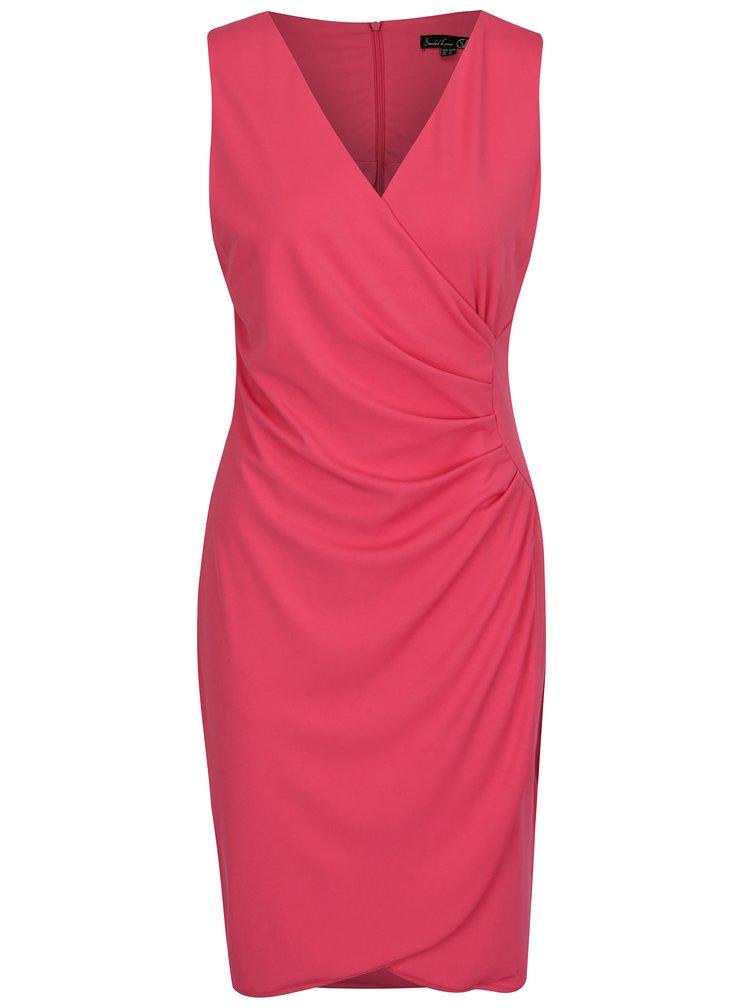 Růžové šaty s překládaným výstřihem a řasením na boku Smashed Lemon