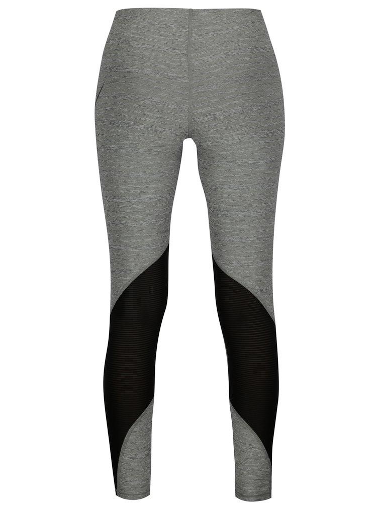 Šedé žíhané dámské funkční legíny Nike Training Tights