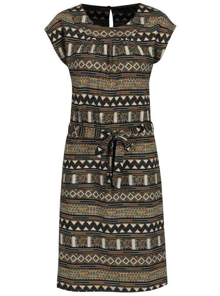 Béžové vzorované šaty s páskem Smashed Lemon