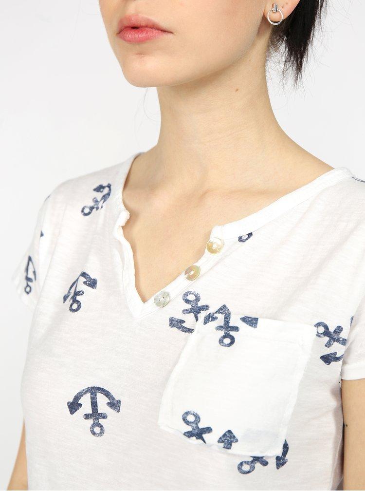 Tricou alb cu print ancore si buzunar la piept - Haily's Stella