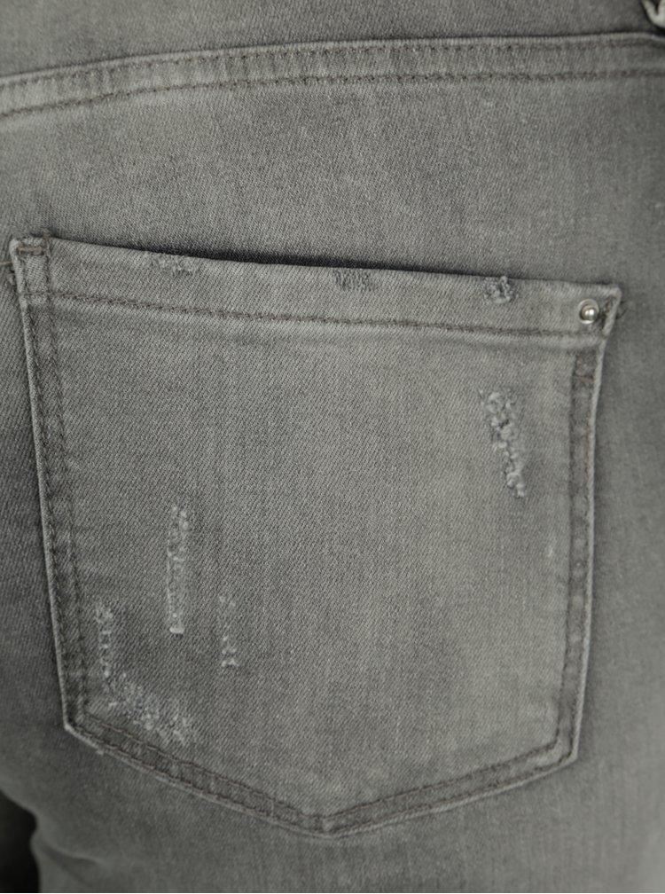 Šedé zkrácené džíny s potrhaným efektem Dorothy Perkins