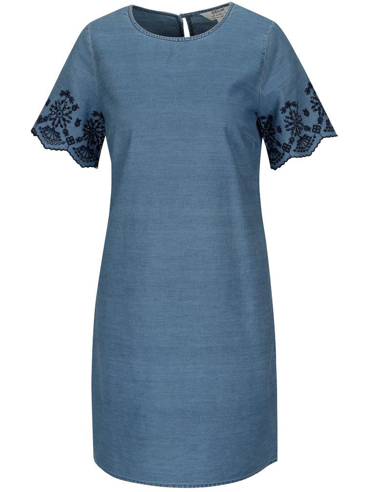 Modré džínové šaty s krátkým rukávem a krajkou Dorothy Perkins