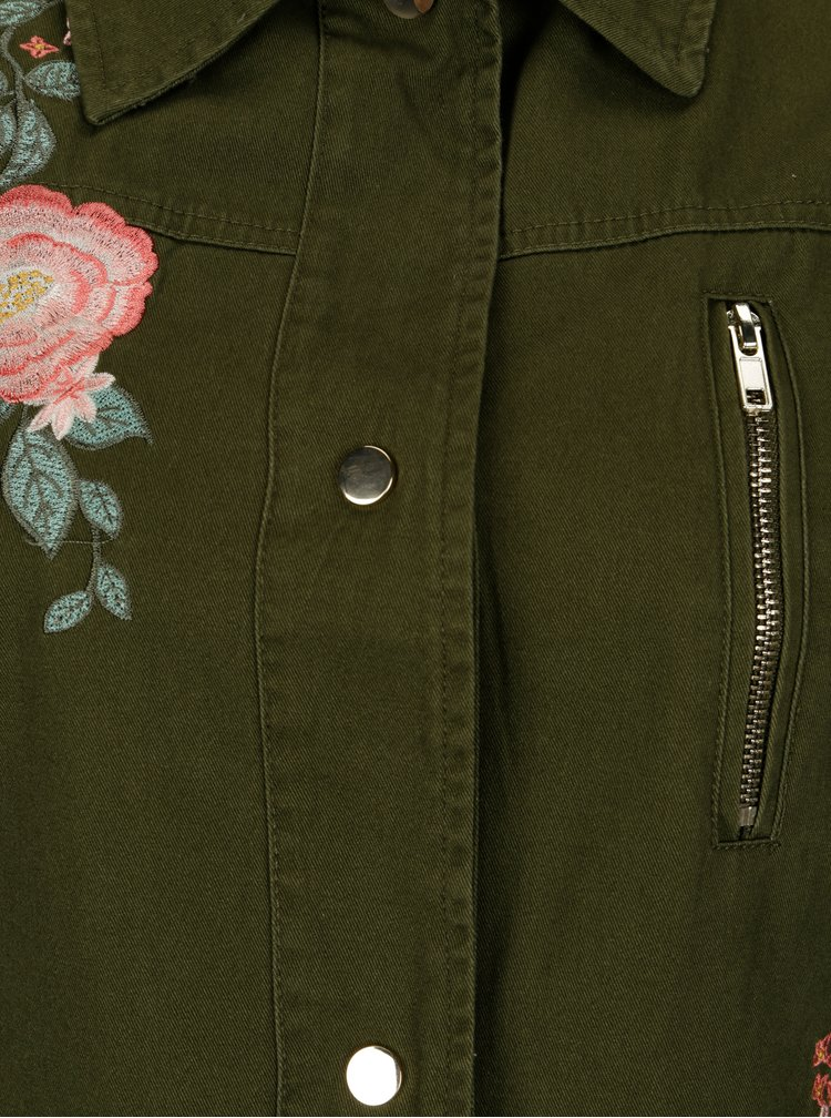 Jacheta kaki cu broderie florala - Dorothy Perkins