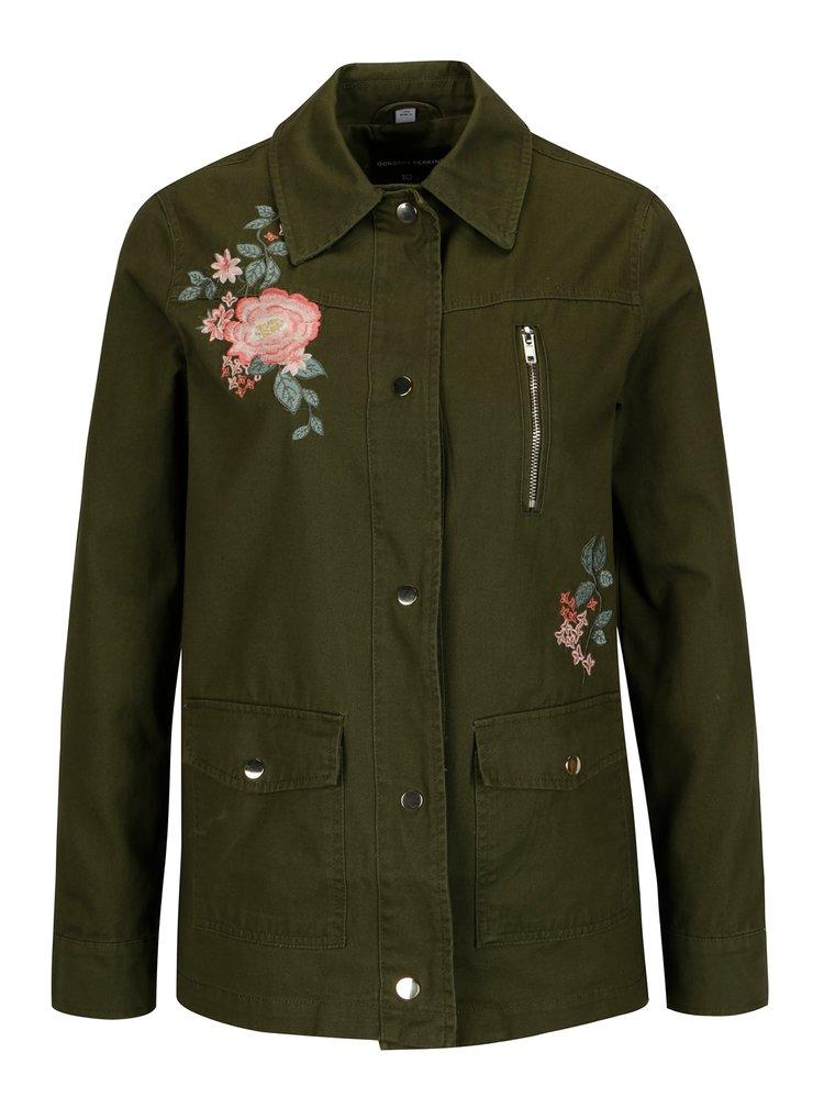 Khaki bunda s výšivkou Dorothy Perkins