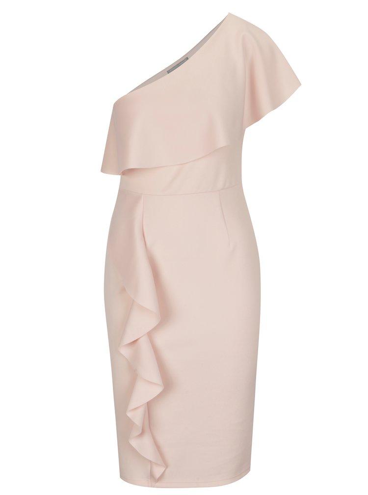 Rochie asimetrica roz cu volan amplu - Dorothy Perkins Petite