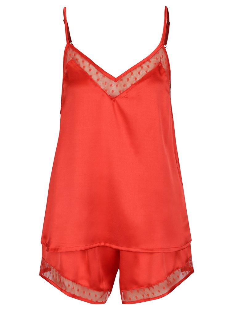 Pijama din 2 piese cu top si pantaloni scurti rosii - Dorothy Perkins