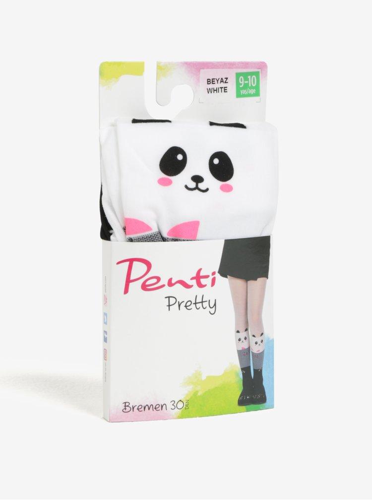 Bílo-šedé holčičí punčocháče s motivem pandy Penti Pretty Bremen 30 DEN