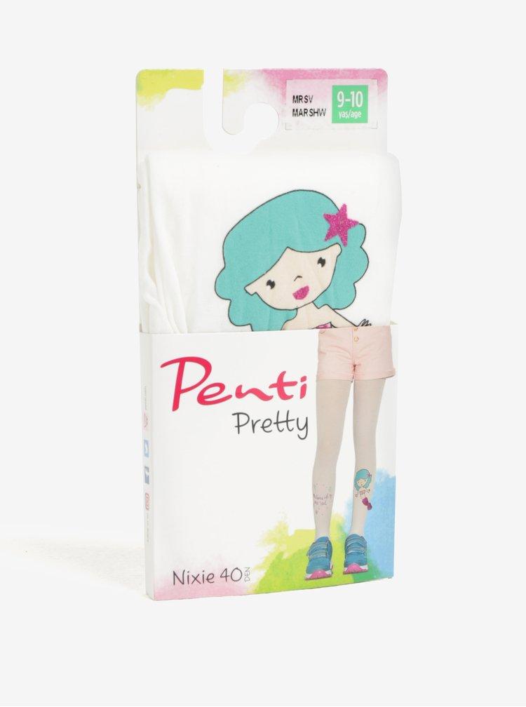 Bílé holčičí punčocháče s motivem mořské panny Penti Pretty Nixie 40 DEN