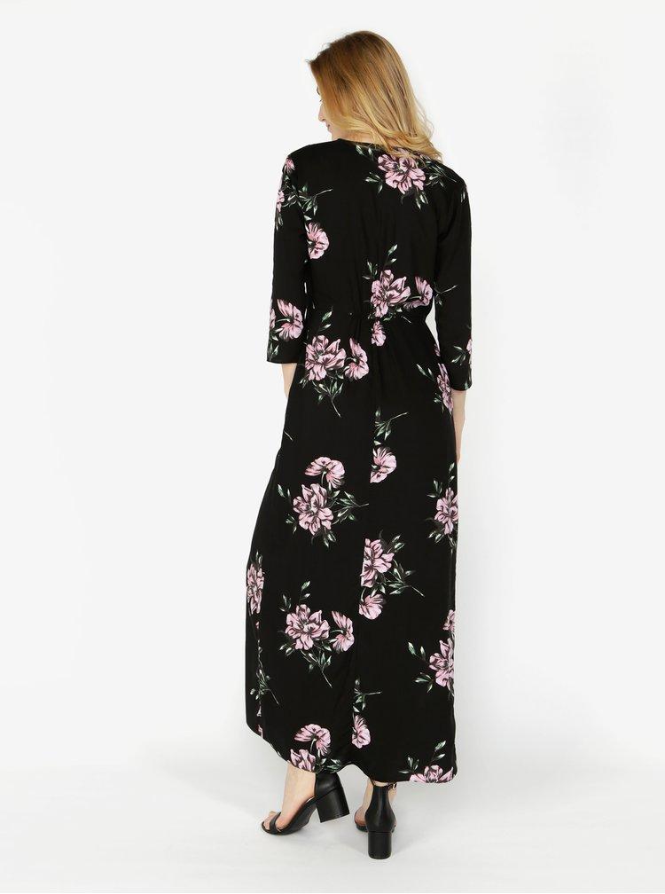Černé květované zavinovací maxišaty Miss Selfridge
