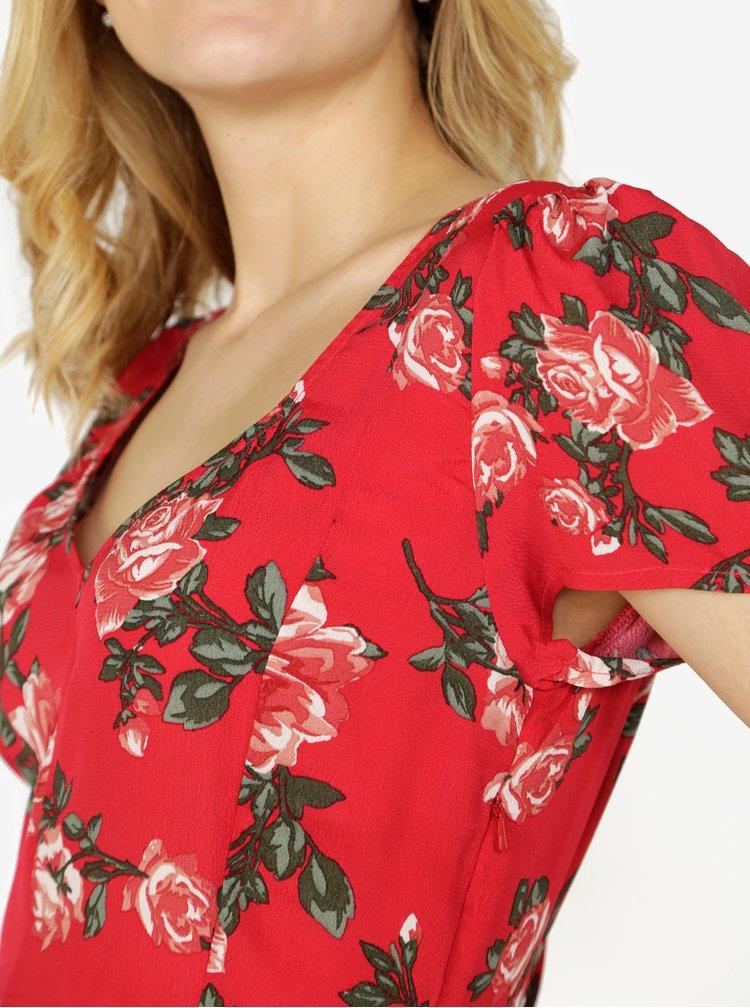Červené květované šaty Miss Selfridge