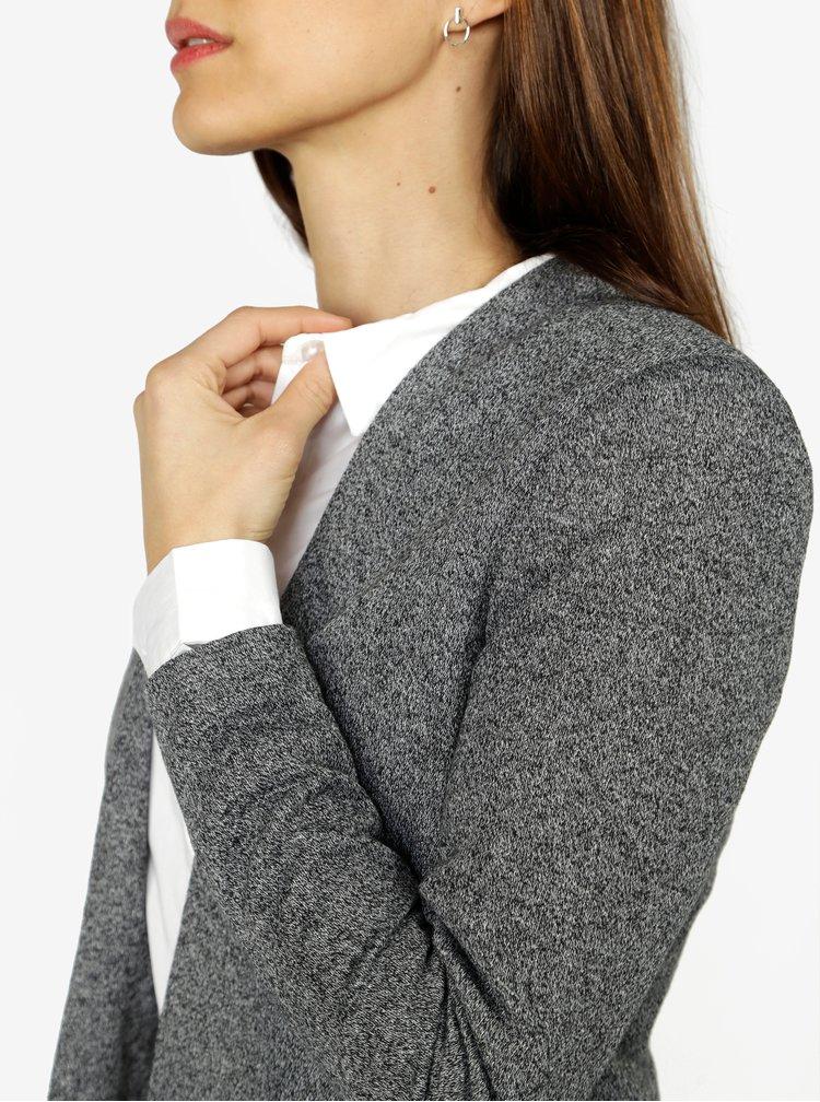 Tmavě šedé žíhané krátké sako VERO MODA Victoria