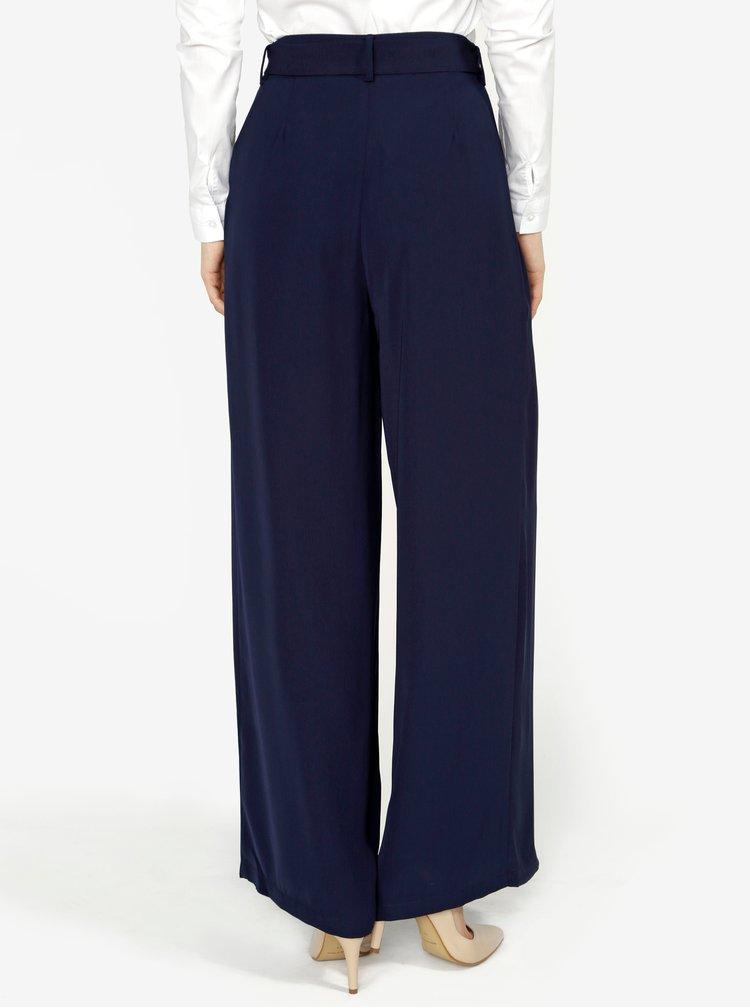 Tmavě modré volné kalhoty s vysokým pasem VERO MODA Mita