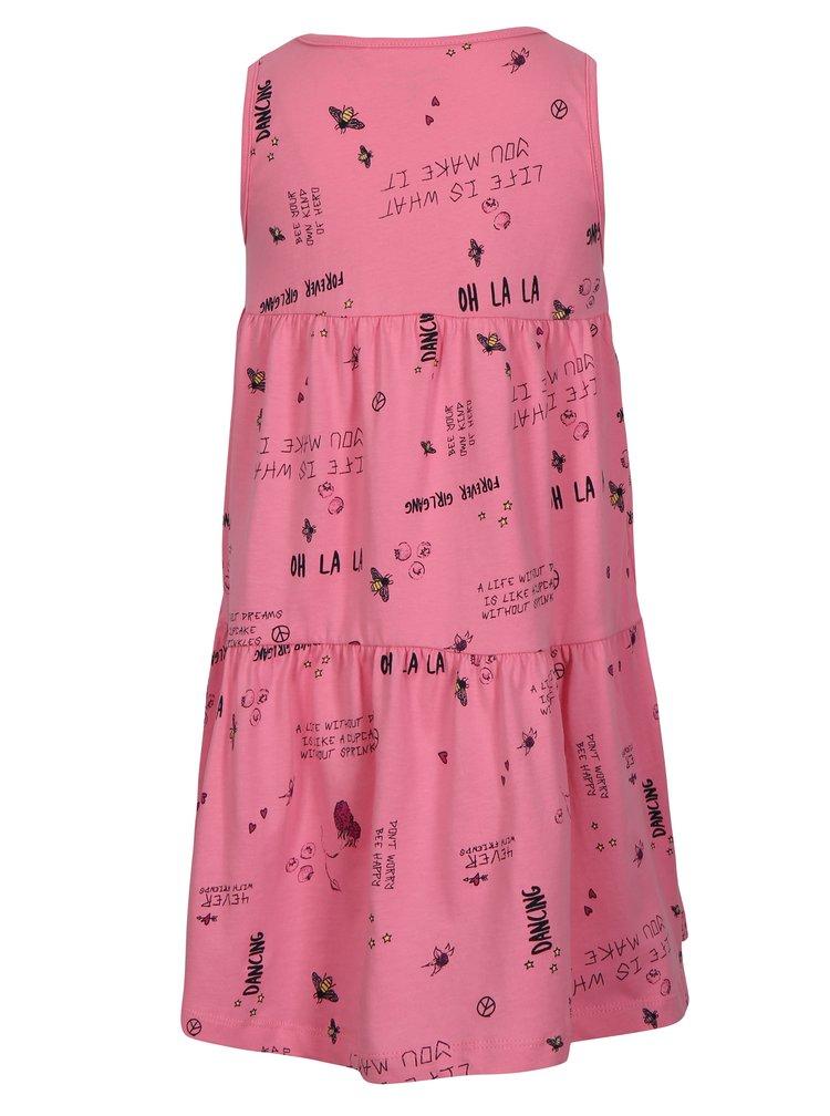 Růžové holčičí vzorované šaty bez rukávů name it Viga