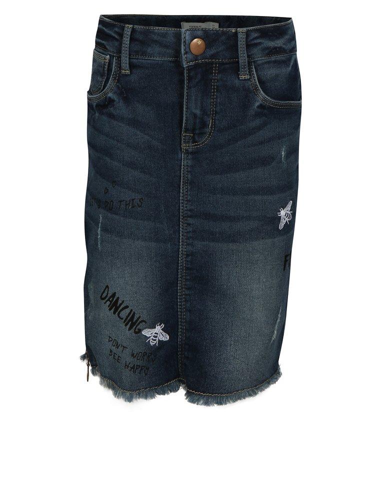 Tmavě modrá holčičí džínová sukně s potrhaným efektem name it Salli