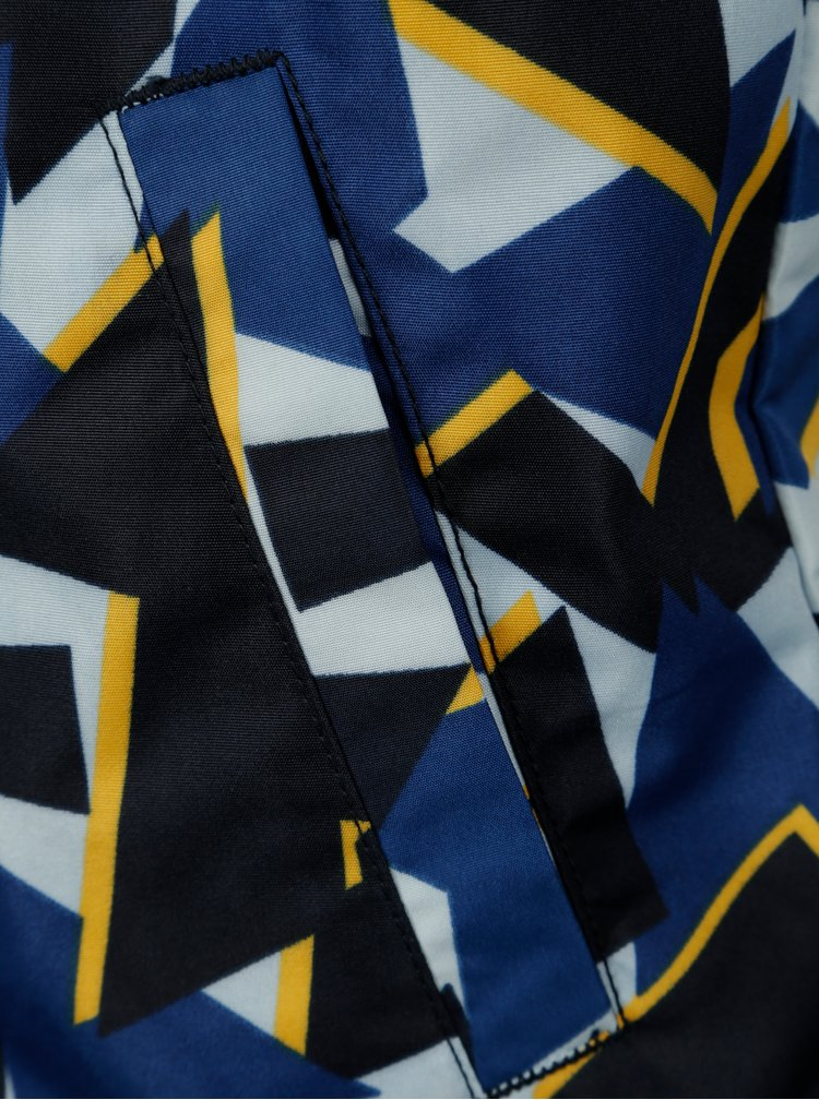 Tmavě modrá klučičí vzorovaná bunda s kapucí name it Mellon
