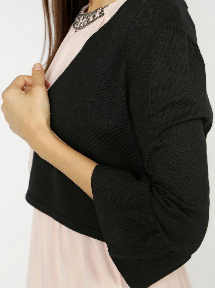 Černý krátký kardigan s volány na rukávech VERO MODA Frilli