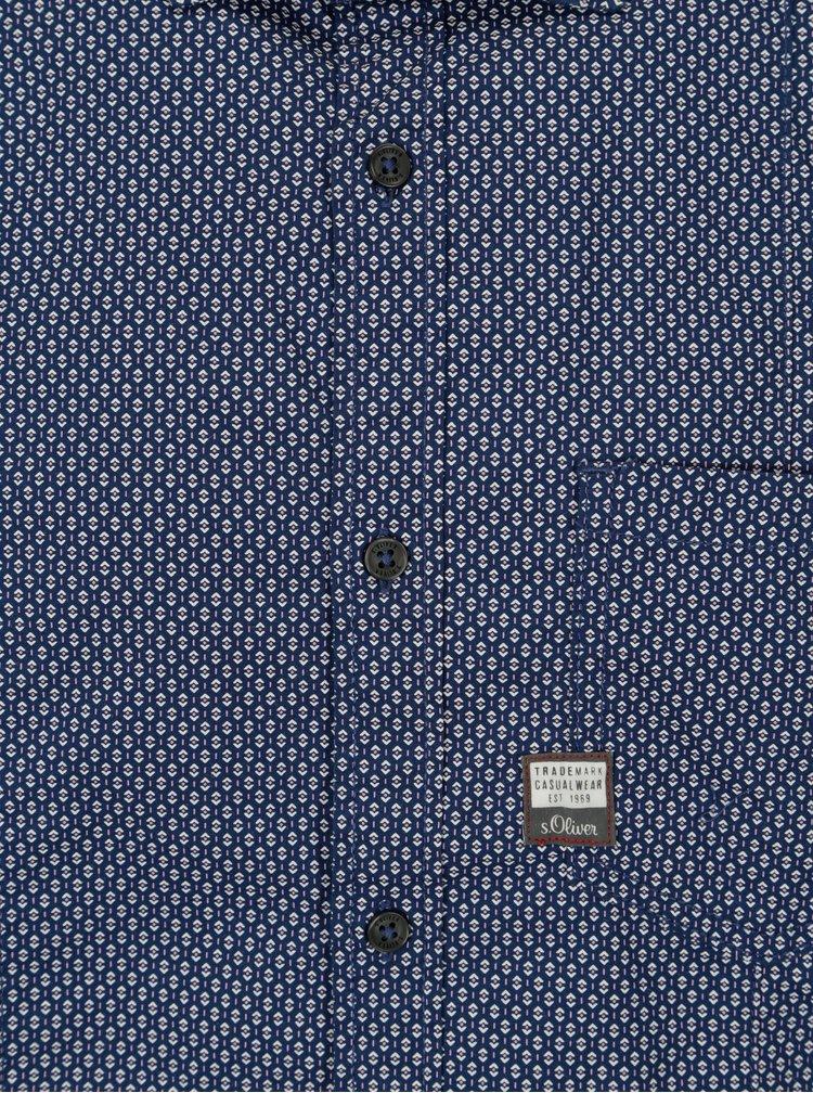 Modrá pánská vzorovaná slim fit košile s.Oliver