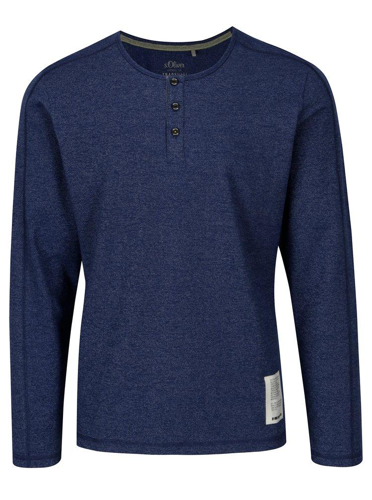 Modré pánské slim fit tričko s dlouhým rukávem s.Oliver