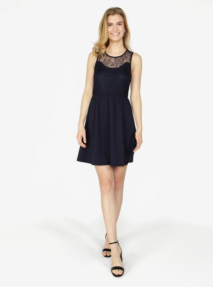 Tmavě modré šaty s krajkou VERO MODA Daga