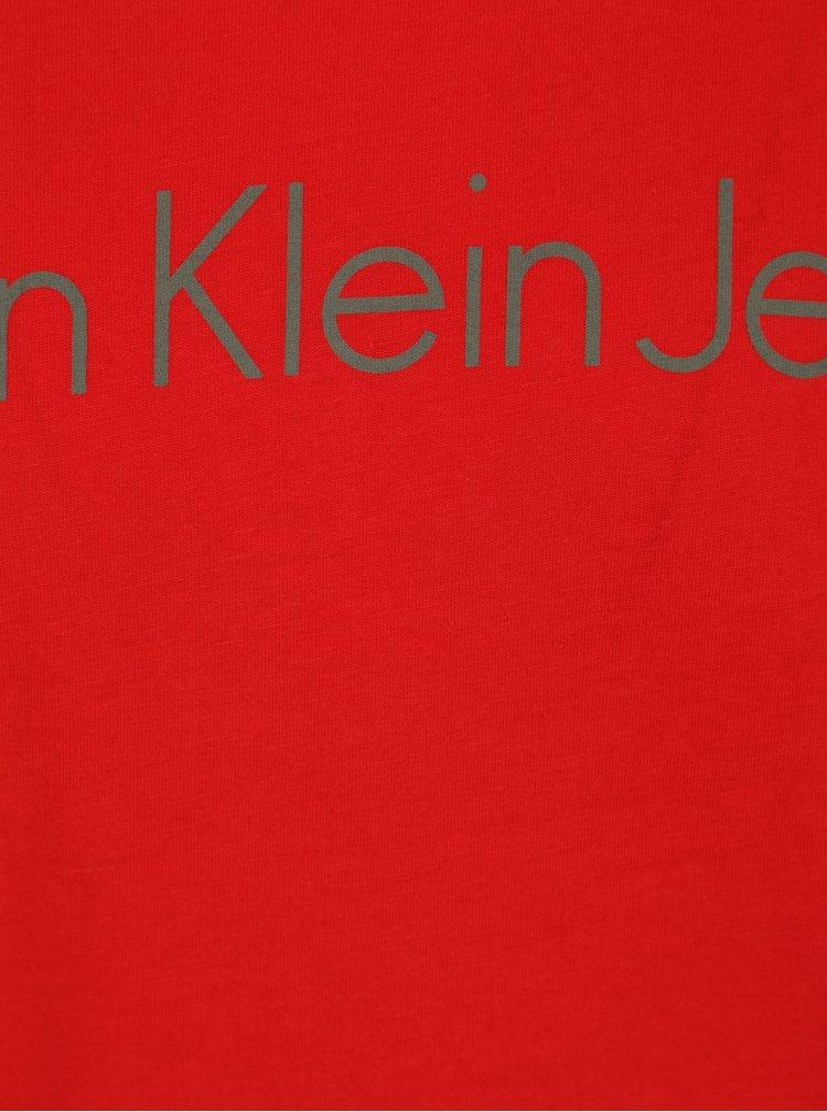 Červené pánské slim fit tričko Calvin Klein Jeans Treasure