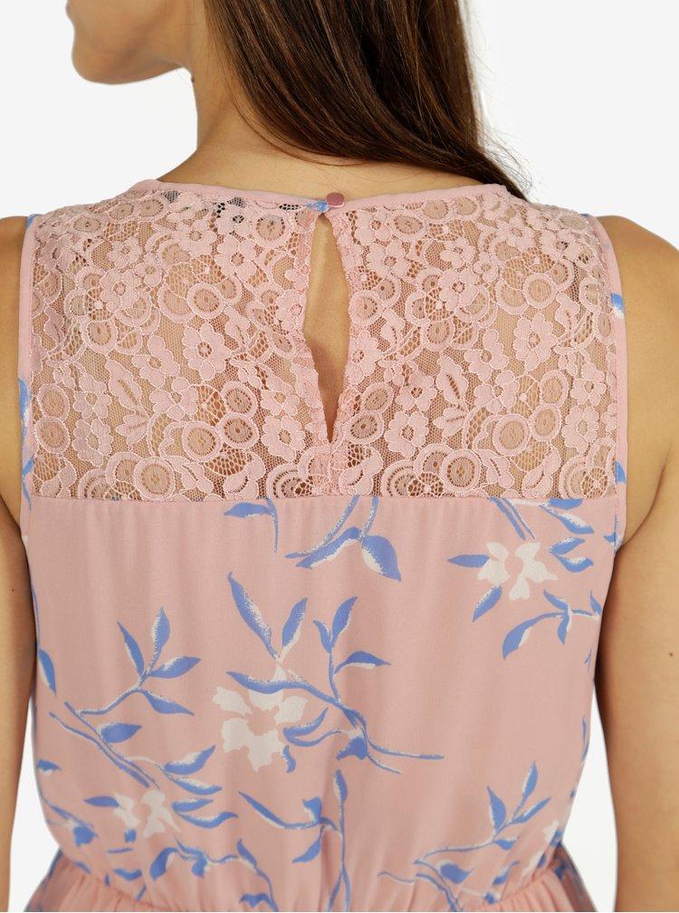 Starorůžové květované šaty s krajkovými detaily VERO MODA Shea