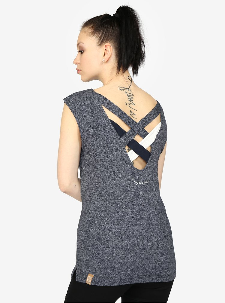 Tmavě modré žíhané dámské tričko s pásky na zádech Ragwear Sofia