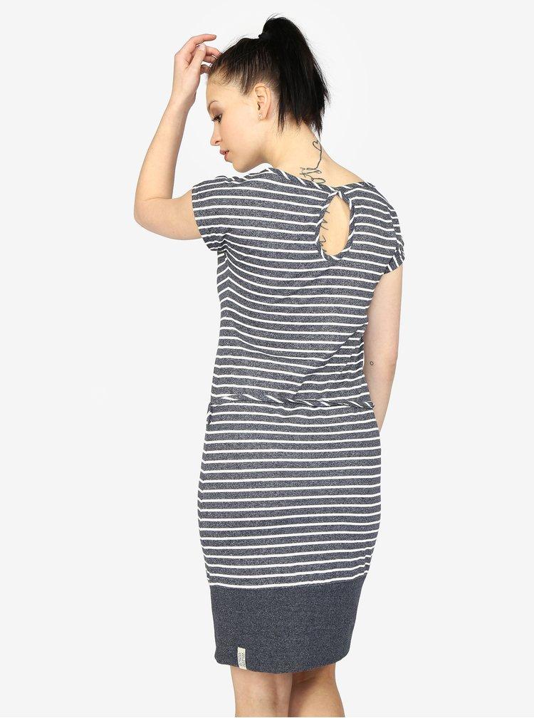 Rochie bleumarin cu dungi si snur in talie - Ragwear Soho Stripes