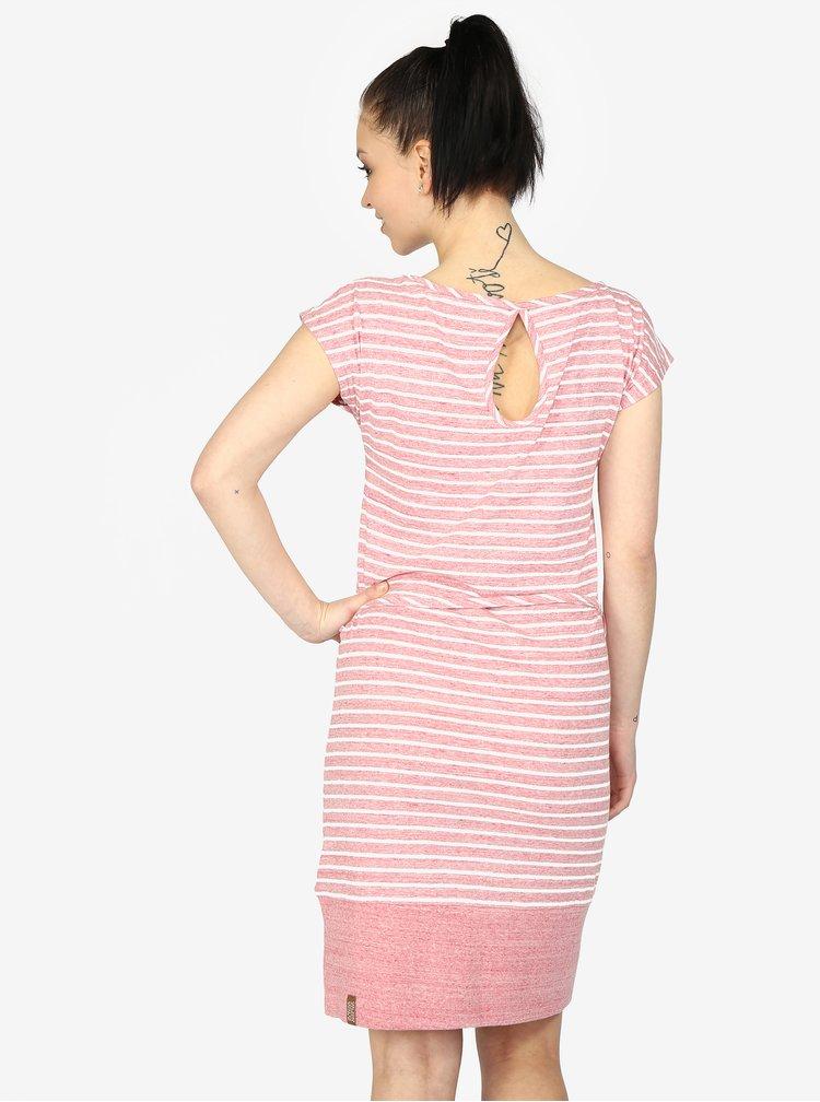Rochie dreapta roz cu dungi din bumbac - Ragwear Soho Stripes