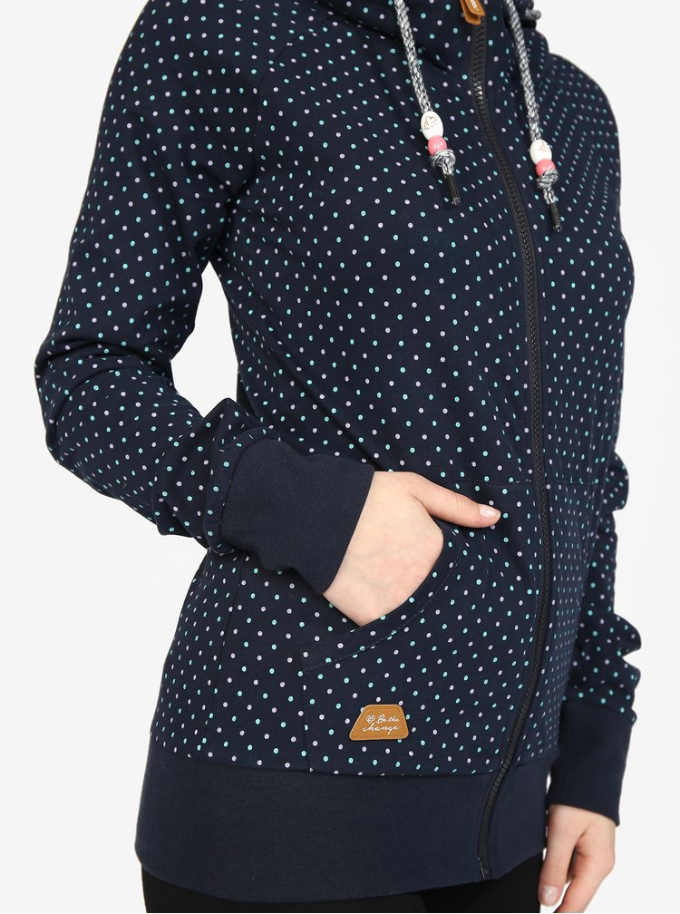 Tmavě modrá dámská puntíkovaná mikina s kapucí Ragwear Chelsea Dots