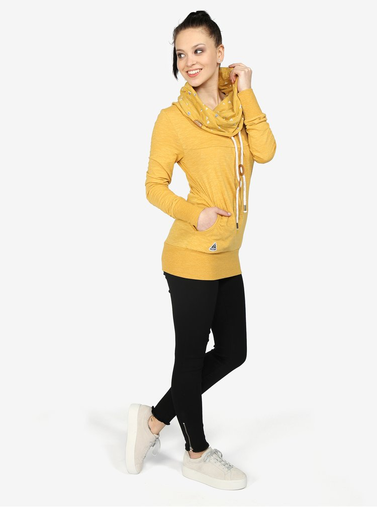 Žlutá dámská žíhaná mikina s vysokým límcem Ragwear Chenay
