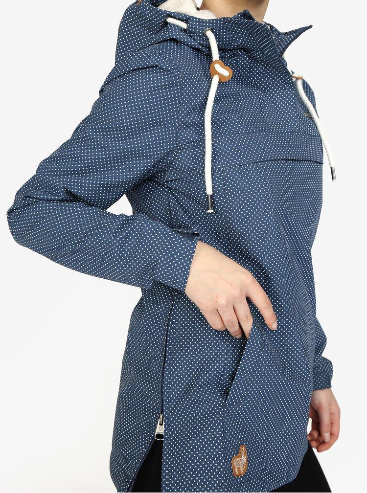 Modrý puntíkovaný dámský voděodolný anorak Ragwear