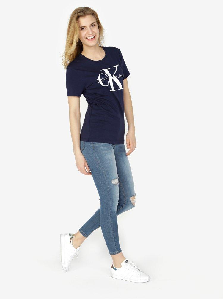 Tmavě modré dámské tričko s potiskem Calvin Klein Jeans Shrunken