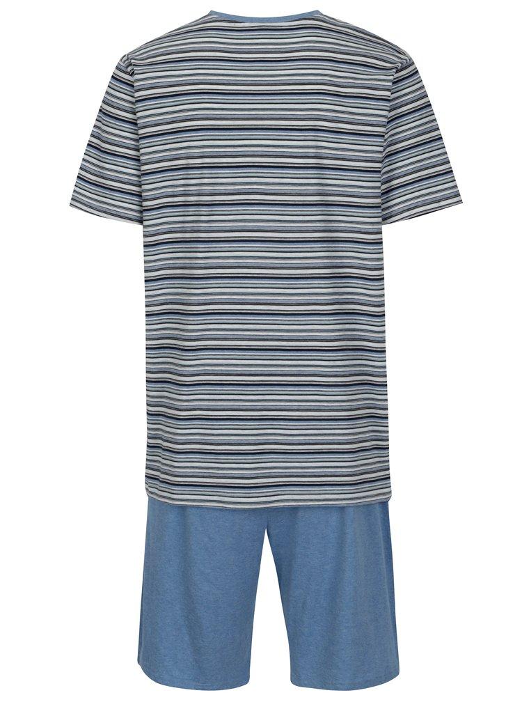 Modré pánské dvoudílné pruhované pyžamo M&Co