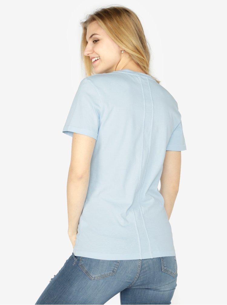 Světle modré dámské tričko s potiskem Calvin Klein Jeans Shrunken