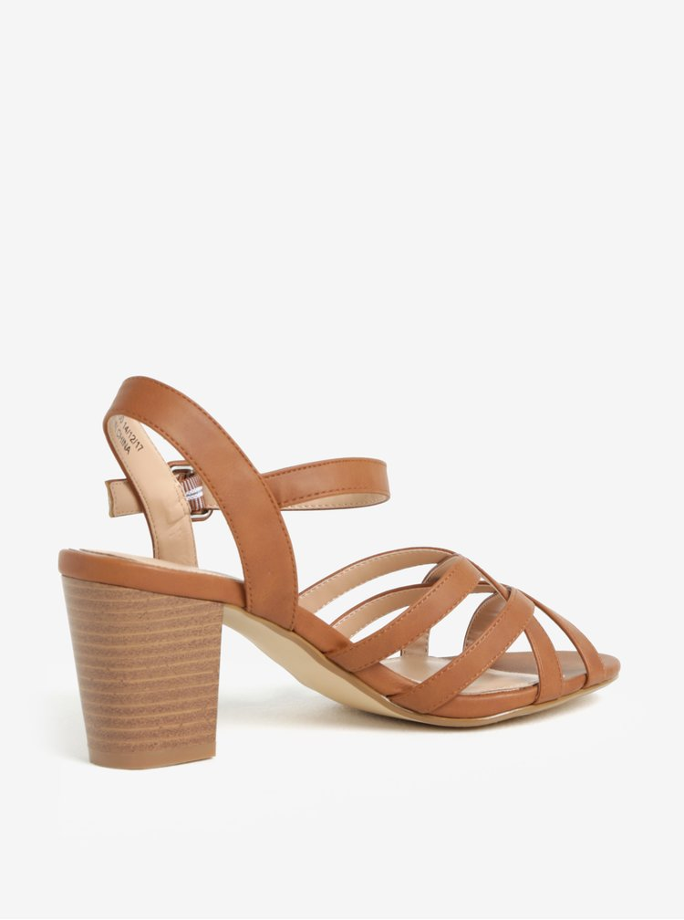 Hnědé sandály na podpatku Dorothy Perkins