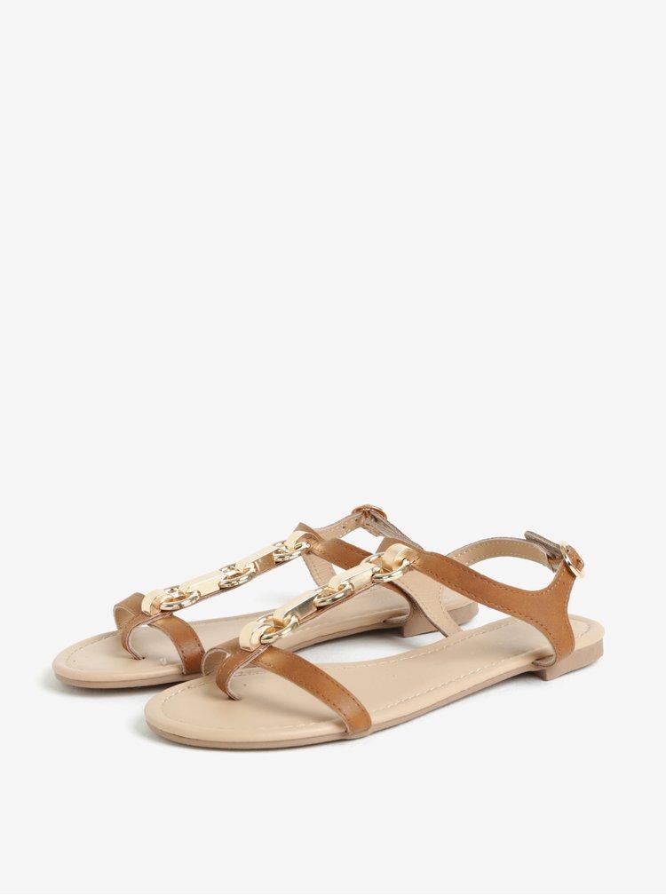Hnědé koženkové sandály Dorothy Perkins