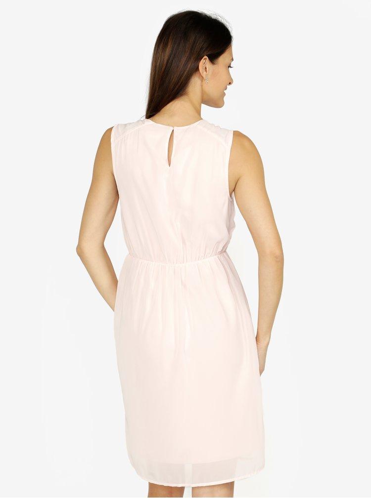 Světle růžové šaty s korálkovou výšivkou VERO MODA Wam