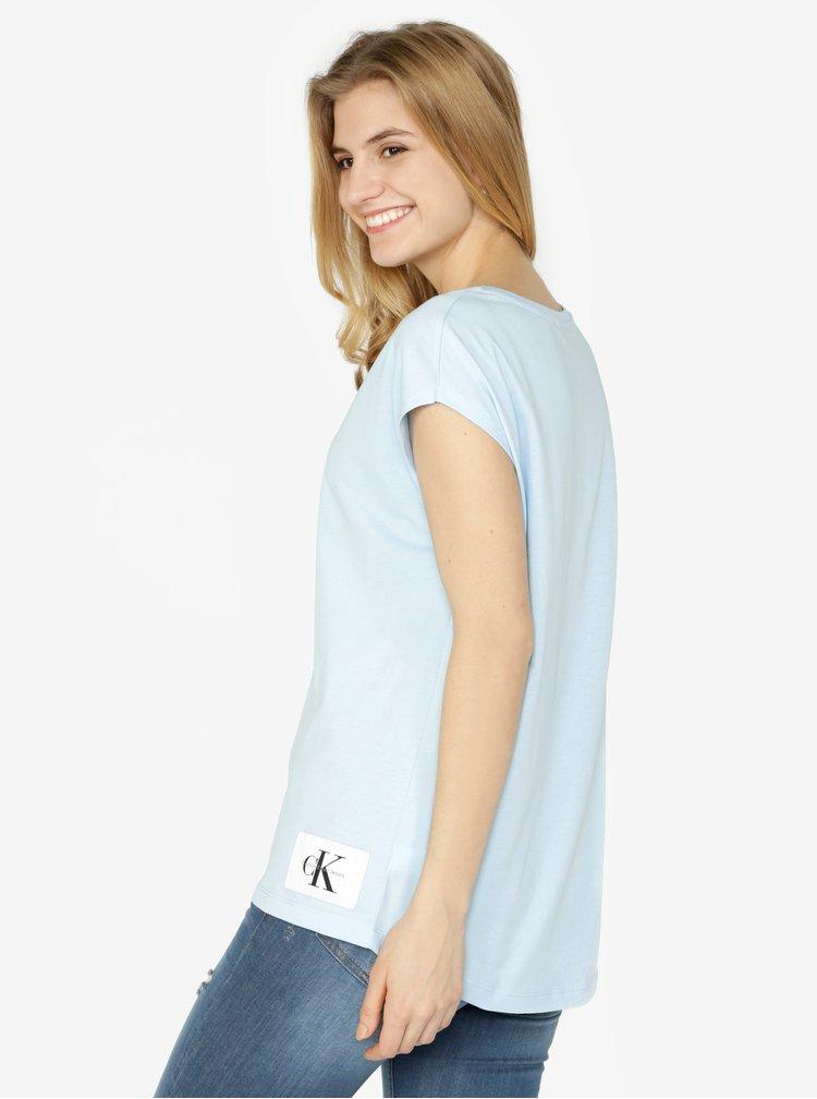 Světle modré dámské tričko tričko bez rukávů Calvin Klein Jeans Tika