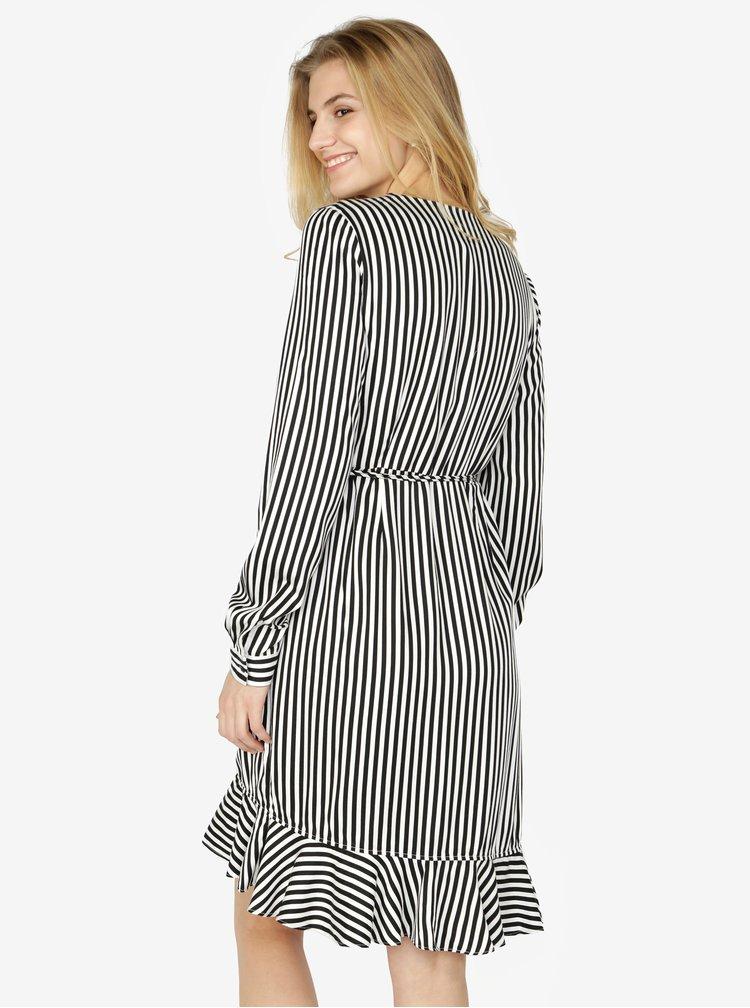 Černo-bílé pruhované zavinovací šaty s volánem VERO MODA Lizette
