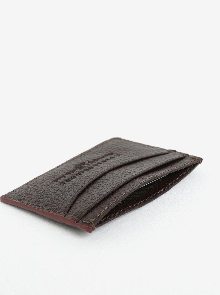 Tmavě hnědé kožené pouzdro na karty Barbour Grain